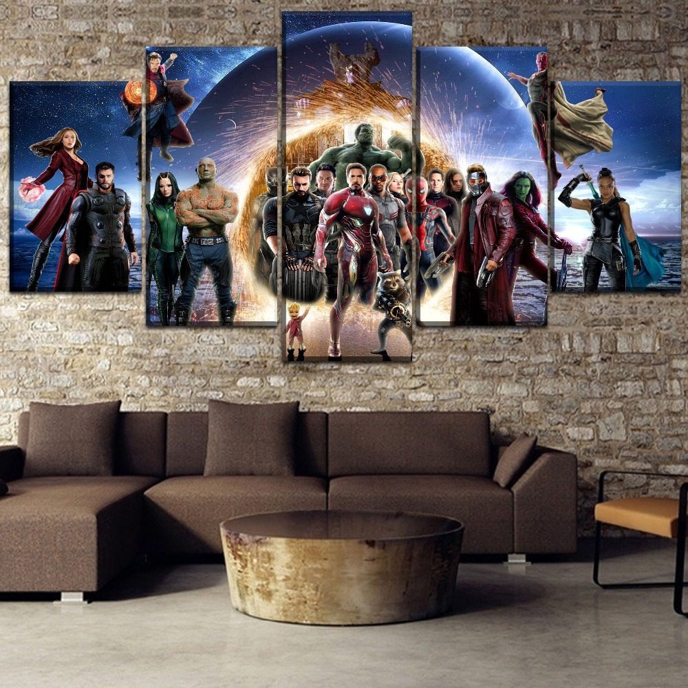 Modular Canvas Painting HD Print Avengers Infinity War Movie Type Artwork Home Decor Living Room Modern 5 Pieces Framework image