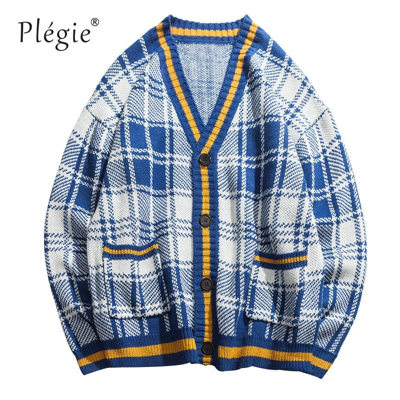 Plegie Color Block Striped Plaid Knitted Pockets Cardigan Sweaters Men 2018 Autumn Jumpers Knitted Sweater Male Knitwear Tops