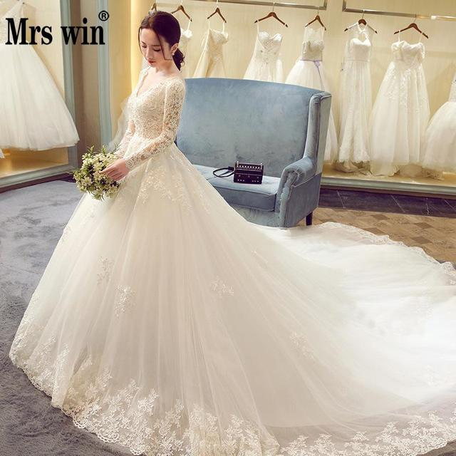 2018 New Winter Y V Neck Long Sleeve Wedding Dress 80cm Tail Prinecess Gown Vestido