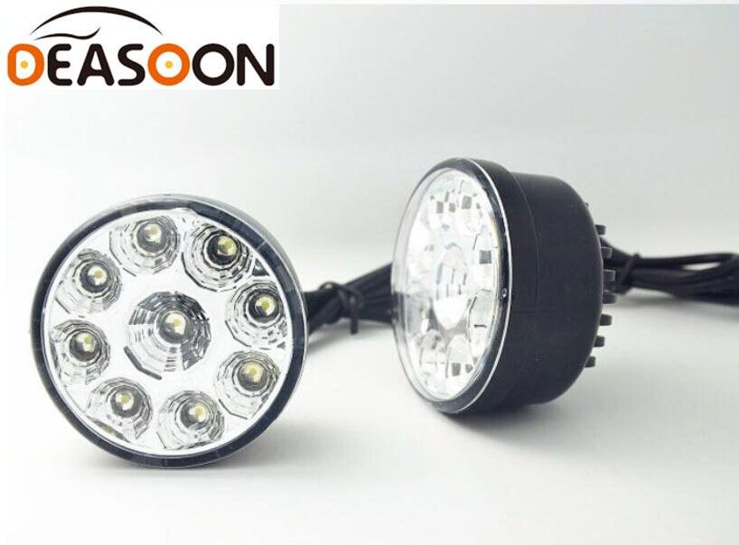 2PCS 9W 70mm 6000K LED Round Motorcycle Fog Lamp Car Daytime Driving Running Light Truck DRL Headlamp Truck Work lights