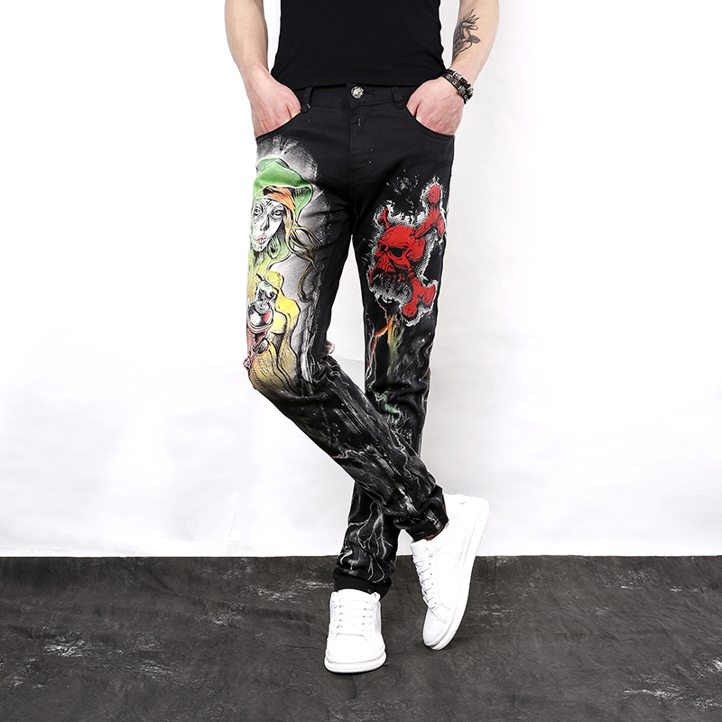 Idopy Men`s Printed   Jeans   Punk Style Gothic Night Club Pants For Male