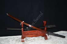 TOP QUALITY HAND FORGE JAPANESE SAMURAI KATANA SWORD BLACK&RED FOLDED STEEL FULL TANG SHARP BLADE LEAF TSUBA