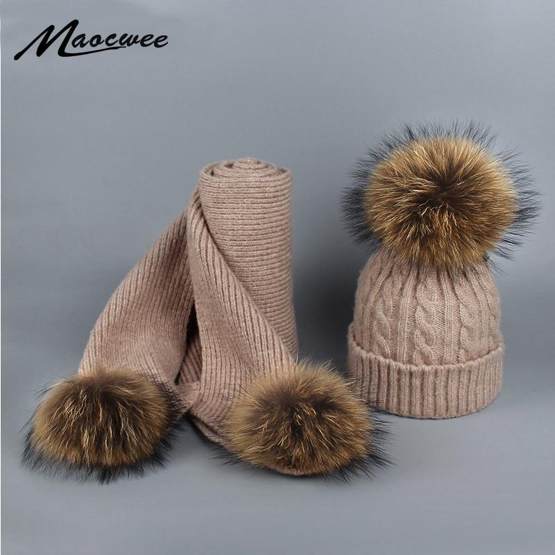 Hot Sale Raccoon Fur Ball Women's Knitted Pom Pom Warm Winter Scarves For Women Fashion Girl Female Scarf