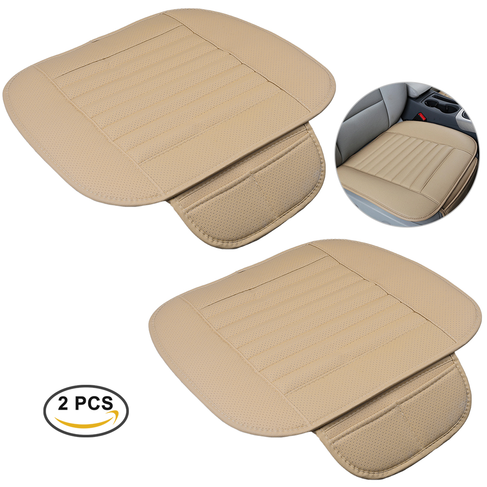 CARGOOL 2pcs Car Seat Cushion Breathable Auto Seat Cushion Cover Bamboo Charcoal Universal 4 Season Protective Cushion Pad