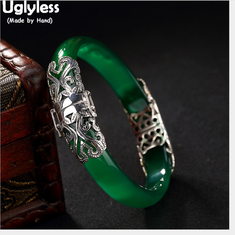 Uglyless Real 925 Thai Silver Fine Jewelry Women Abstract Hearts Bangle Hollow Transparent Green Jade Bangles
