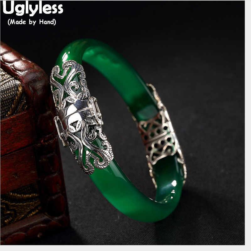 Uglyless Real 925 Thai Zilveren Fijne Sieraden Vrouwen Abstract Harten Bangle Hollow Transparant Groen Jade Armbanden Edelstenen Armband