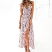 New Fashion Women Spaghetti Strap Beach Casual Summer Floral Print Long Dress V-Neck Collar Hem Split Opening Ladies Dresses
