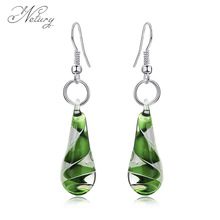 Netury brand fashion Women earrings Glass colorful water drop pattern dangle earrings beautiful spiral High end trendy jewelry