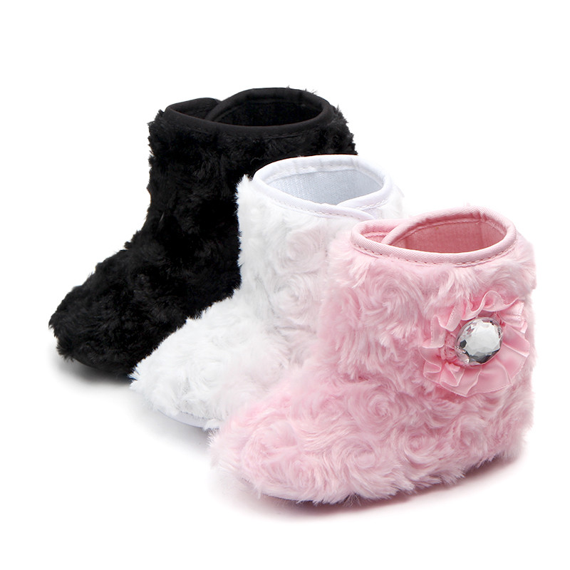 Baby Boots Snow-Shoes Newborn Toddlers Winter Princess Kids Plush Flower Soft 1-Pair