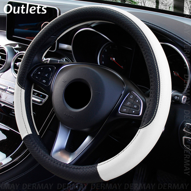 2019 New Car Steering Wheel Cover for 37 38CM Leather Breathable Fabric Braid Car Steering Wheel Cover Auto Interior Accessories