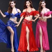 Belly Dance Costumes Women Bellydance Costume Carnival Bra Belt Long Skirt Bollywood Indian Clothing Exotic Dancewear DN1399