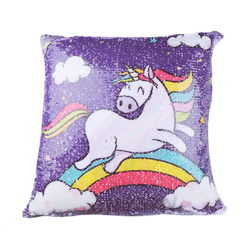 Double Side Printed Sequins Reversible Unicorn Pillow Case