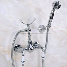 Bathroom Shower Faucet Bath Faucet Mixer Tap With Hand Held Shower Head Set Double Handles Wall Mounted Bathroom Faucet Bna264 gold plating bathroom bath faucet wall mounted hand held shower head kit shower mixer sets