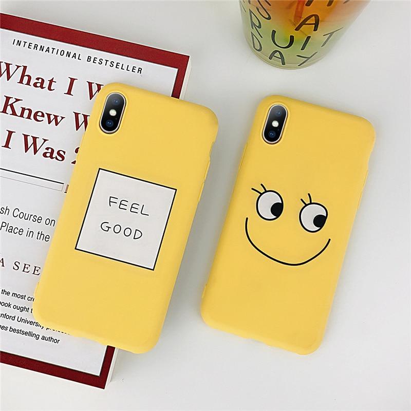 meet ad709 177ed Phone Iphone 6 6S 7 8 Plus X Cute Cartoon Smiley Face Feel Good Soft TPU  For Iphone 8 Phone Case Cover