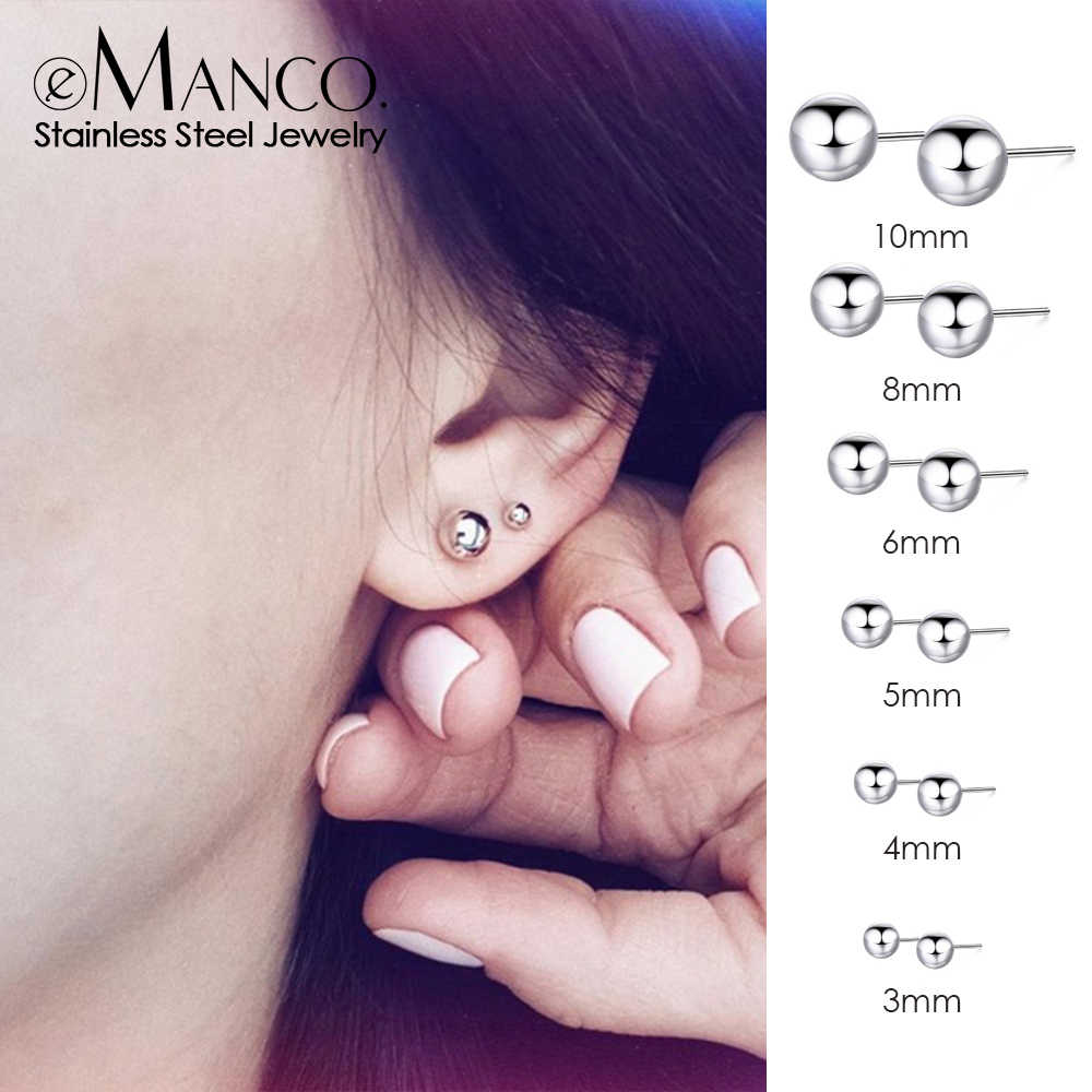 e-Manco korean style stainless steel earrings for women Luxury rose gold color stud earrings set small earings fashion jewelry