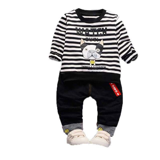 18M-4T Baby Boy Girls Clothing Cartoon Dog Stripe T-shirt + Soild Color Pants Two Pcs Kids Clothing Sets Autumn Children Clothes