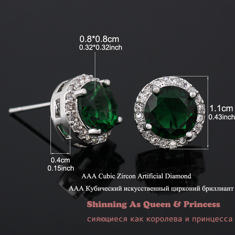 5dfee590a Classic Green AAA Cubic Zirconia Stud Earrings Round Crystal Girl Ear Studs  For Women Multicolor Fashion