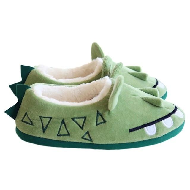 b909355c310 Unisex Adultos Pareja Acogedor Algodón Casa Zapatillas Cómodas Calzado  Precioso Cocodrilo Verde