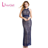 Navy Women Long Dress Lace And Polyester High Neck Dresses Split Backless Elegant Women Dresses 2016