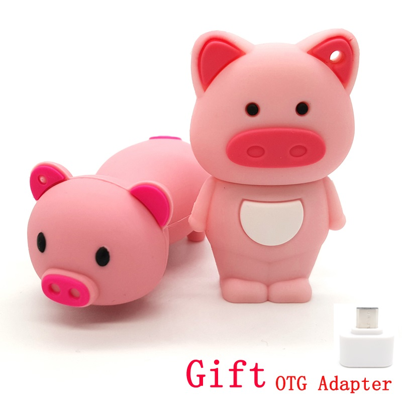 Cartoon Cute Pink Pig Usb Flash Drives With OTG Adapter 4G 8G 16G Emoji Emotion Expression Pen Drive 32G Memory Stick PenDrives