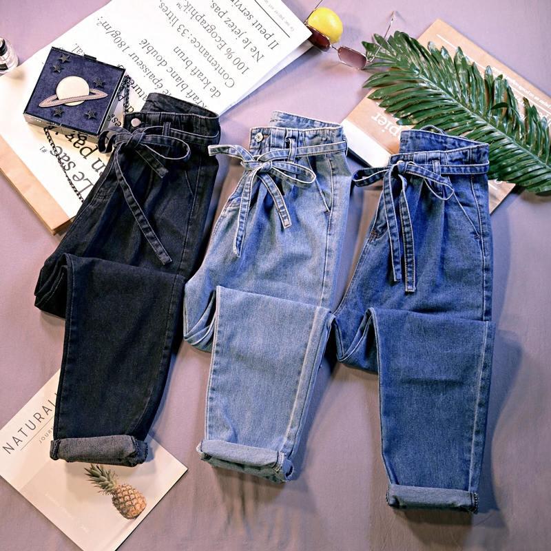 Summer Jeans Woman Vintage Plus Size High Waist Jeans Lace Up Boyfriend Jeans For Women Casual Denim Harem Pants Trousers C4238