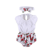 2018 Newborn Baby Jumpsuit Floral Print Shorts Sleeveless Top Girls Bodysuit with Hairband Baby Set Clothes girls calico print blouse with frill trim shorts
