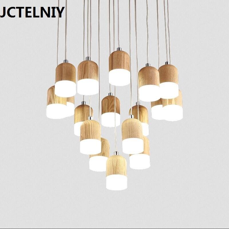 все цены на Stair fitting solid wood brief wooden bar ash dining room pendant light онлайн