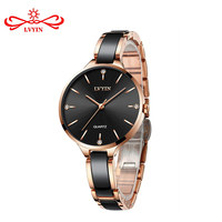 LVYIN Women Quartz Ceramic Watches Elegant Lady Luxury Rose Gold Bracelet Watch Crystals Dress Wrist watch Waterproof Relogios