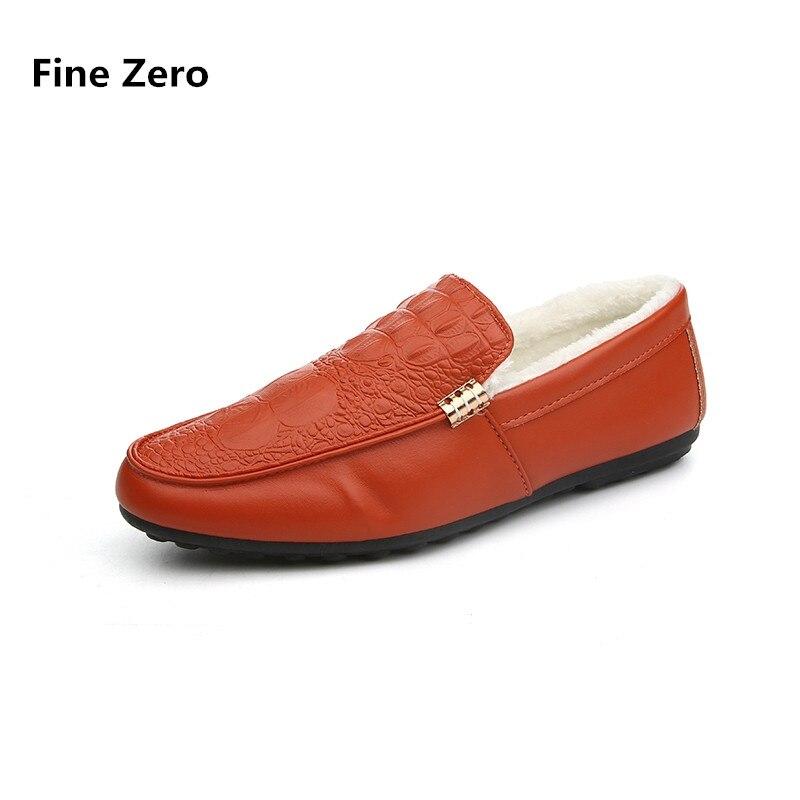 Fine Zero Men crocodile vein Winter Warm Plush Dress Business Shoes Male Moccasins Men Loafers jean Driving Flats Home slide