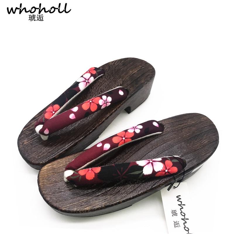 WHOHOLL Summer Sandals Women Wooden Shoes Slippers Female Wedge Platform Antiskid Japanese Geta Cos Clogs Flip-flops for Women kryte sandały na platformie