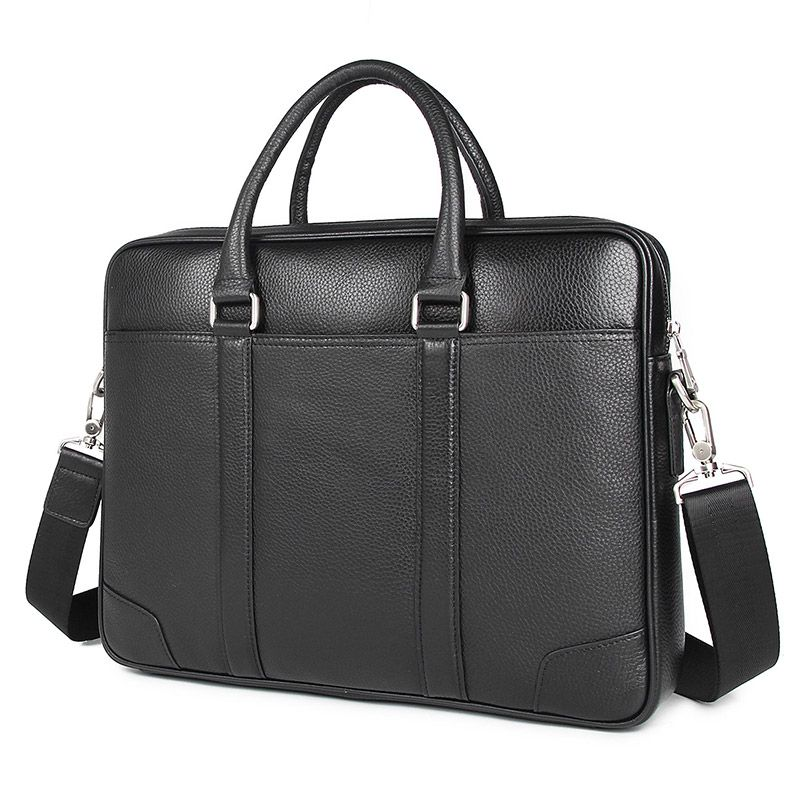 Nesitu High Quality Black Genuine Leather 14'' Laptop Office Men Briefcase Business Shoulder Messenger Bags A4 Portfolio M7400