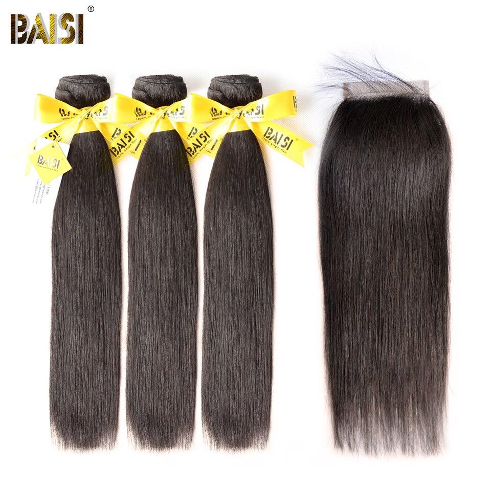BAISI прямые перуанские натуральные волосы пучок человеческих волос 3 пучка s с закрытием натуральный цвет бесплатная доставка.