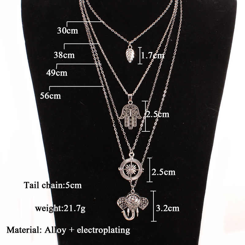 Women Leaves Shape Vintage Necklace Elephant Long Chain Necklaces Silver Pendant Boho Statement Holiday Party Fashion Jewelry