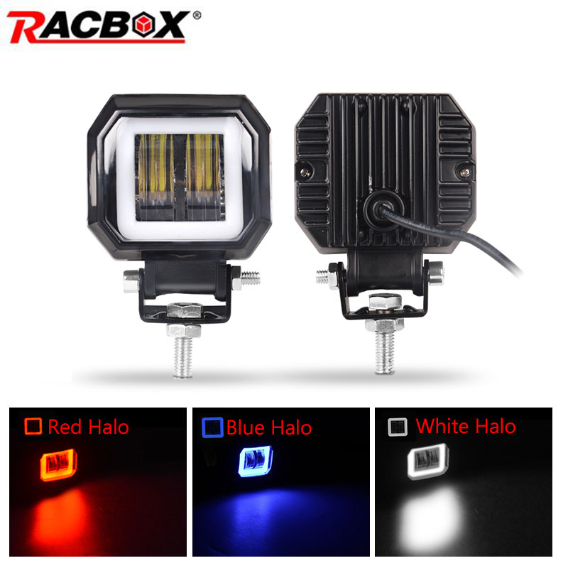2X3 Inch 7D Lens LED Spotlight For Car Round Square Portable Led Work Light Offroad Truck Driving Car Motorcycle 24V 12V UAZ ATV