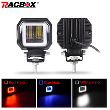 цена на 2X3 inch 7D Lens LED Spotlight for Car Round Square Portable Led Work light Offroad Truck Driving Car Motorcycle 24V 12V UAZ ATV