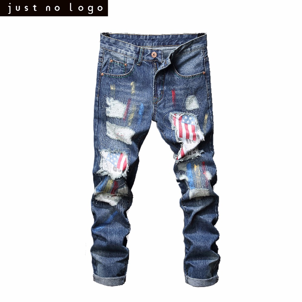 Mens Light Blue Skinny Ripped Jeans Straight American Flag Pattern Patched Slim Fit Denim Pants for Men Trouser men distressed broken jeans light blue denim pants streetwear new 2017 mens ripped jeans patched design garment washed jeans