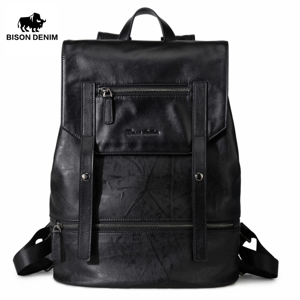 BISON DENIM Fashion Backpack for Teenagers Large Capacity Male 15 laptop Mochila Men Women Designer Backpacks School Bag gravity falls backpacks children cartoon canvas school backpack for teenagers men women bag mochila laptop bags