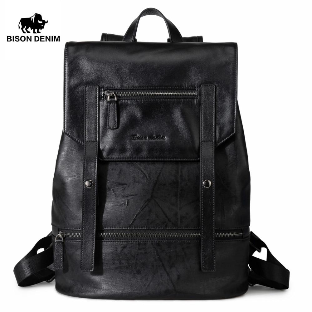 BISON DENIM Fashion Backpack for Teenagers Large Capacity Male 15 laptop Mochila Men Women Designer Backpacks School Bag 2017 backpack laptop bag mochila masculina men large capacity nylon compact men s backpacks unisex women bagpack school bags