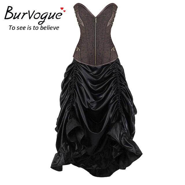 Burvogue Women Waist Trainer Mermaid Corset Dress  Gothic Corset Dress Set Summer Short Sleeves Corset Steampunk Corset Dress
