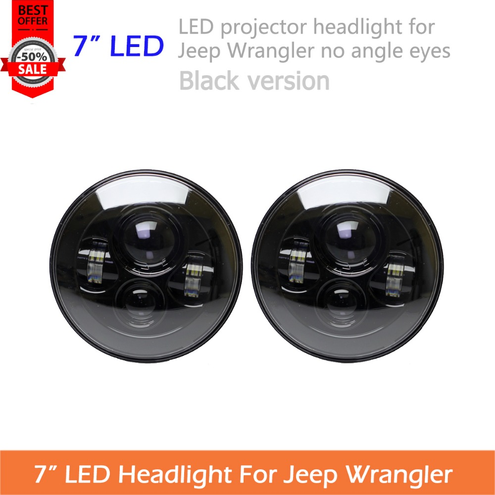 2pcs 7 LED Headlight For Wrangler JK TJ LJ H4 Hi lo Beam PAR56 Front Driving