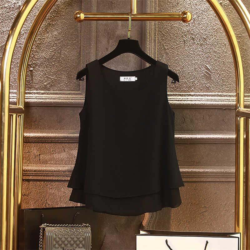 2019 yeni moda yaz şifon bluzlar kadınlar artı boyutu 4XL gevşek kolsuz sıfır yaka bluzlar 13 renkler bluz gömlek