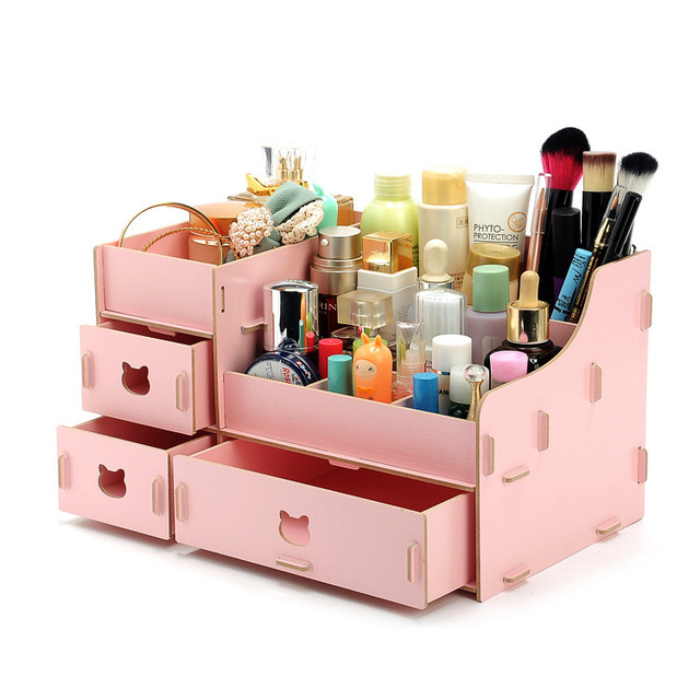Kawaii Wood Makeup Organizer DIY Storage Box 31*19*18cm Large Capacity Make  Up