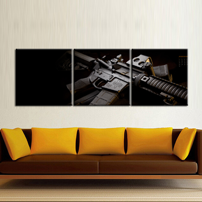 3 Piece Abstract Guns Canvas Painting Poster Prints Humor Wall Art Pictures for Living Room Home Decor Frame QJFJ3 54 in Painting Calligraphy from Home Garden