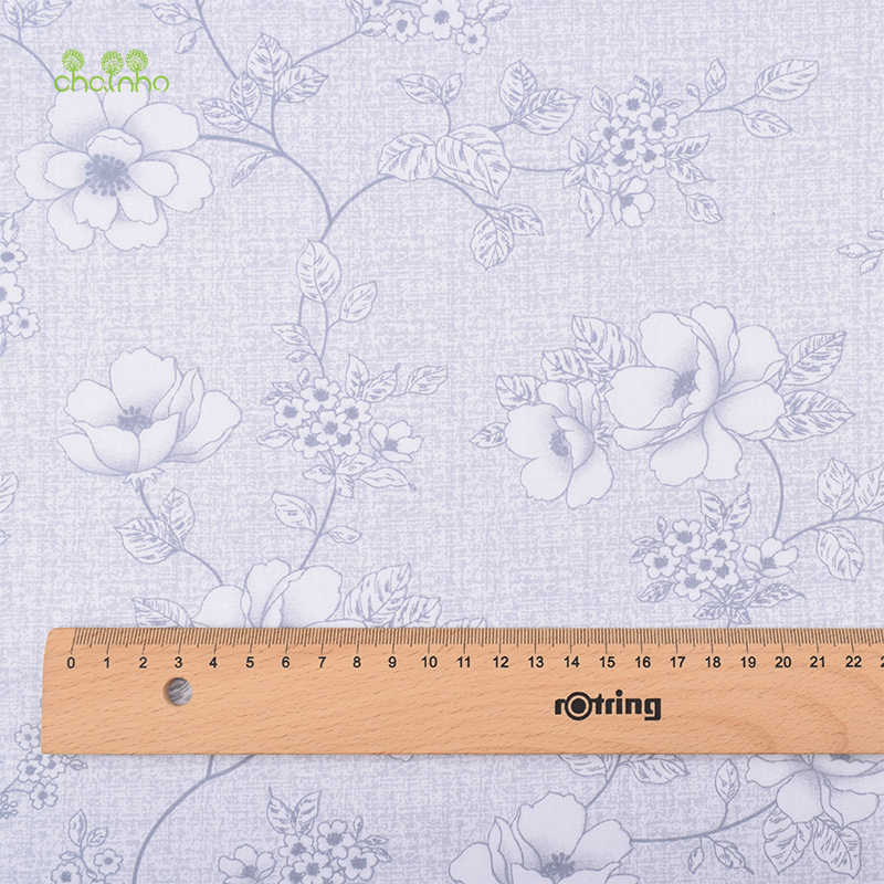 Chainho, 새로운 회색 꽃 인쇄 능 직물 코 튼 원단, diy 퀼 팅 바느질 아기 및 어린이 시트, 베개, 쿠션, 소재, 절반 미터