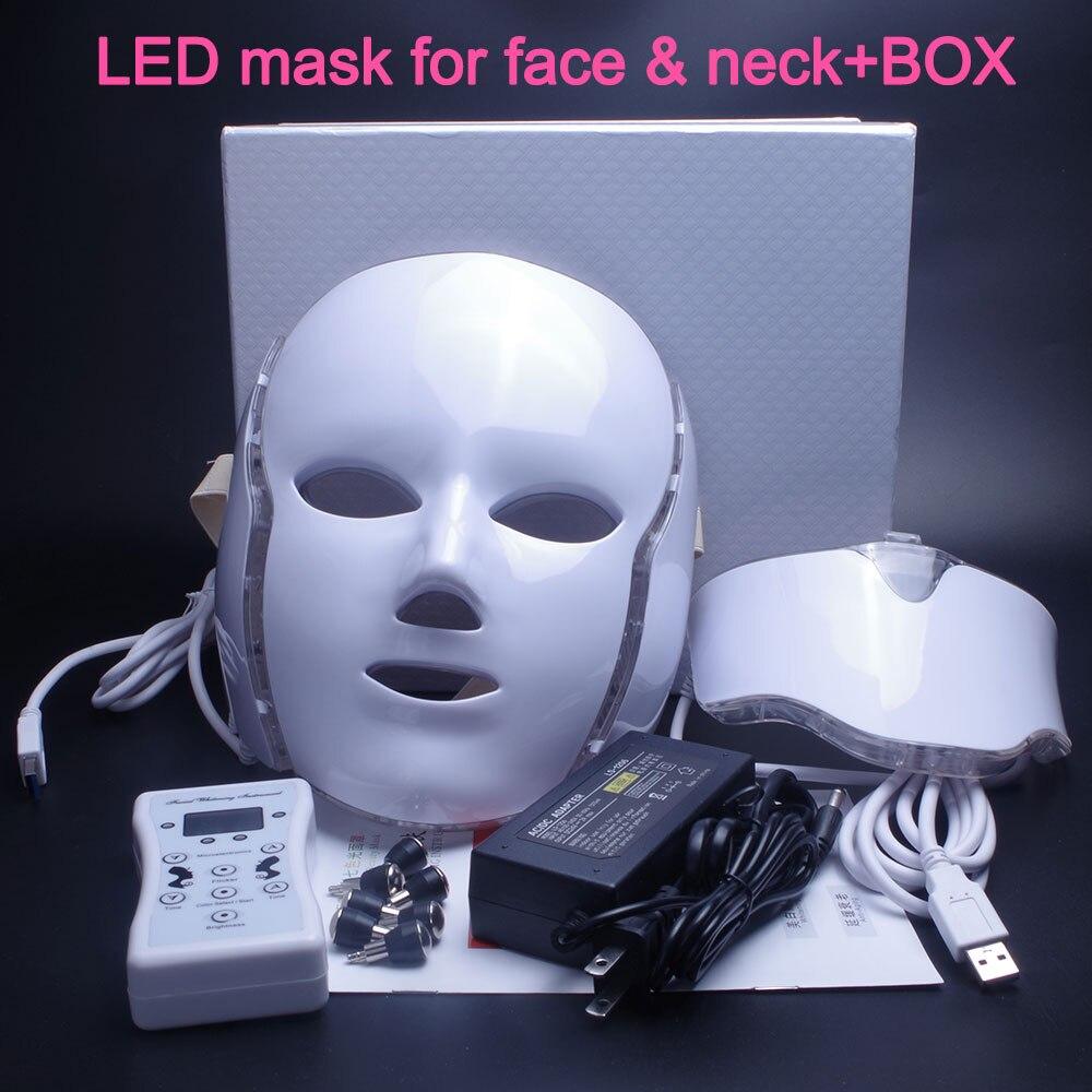 Más nuevos 3/7 colores Photon eléctrico LED máscara Facial con cuello rejuvenecimiento de la piel Anti arrugas acné tratamiento de belleza uso doméstico salón