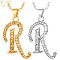 U7 Gold Plated Necklace Capital Initial R Letter Pendant Necklace Platinum Fashion Alphabet Letter Necklace Women