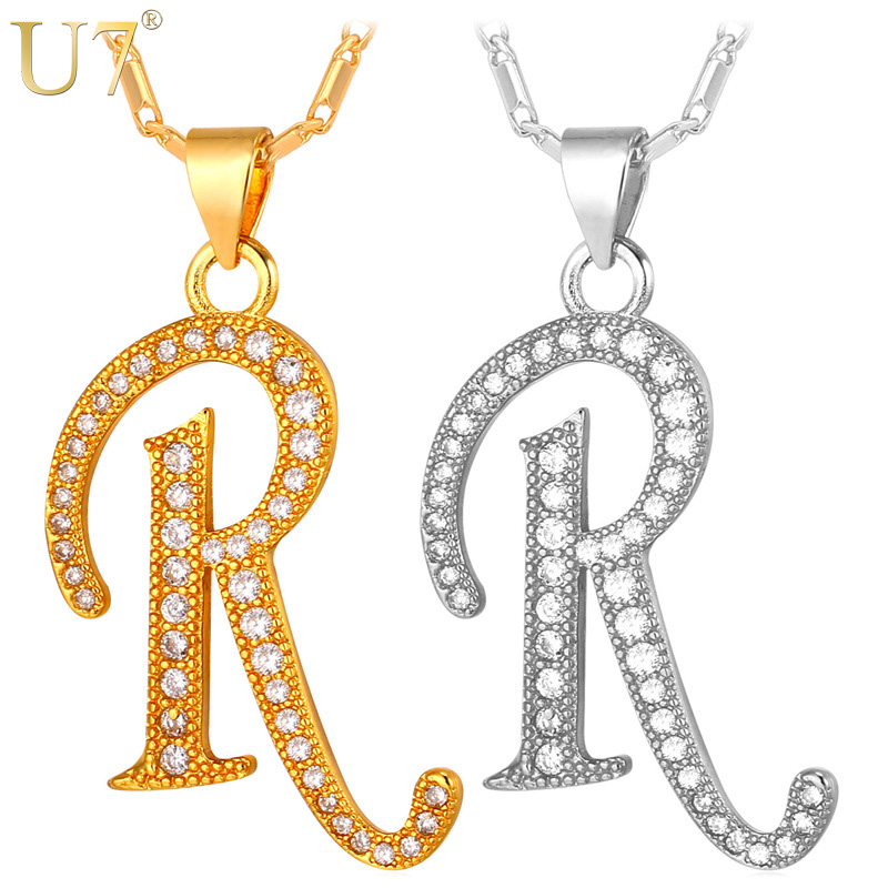 U7 Capital Initial R Letter Necklace Pendant Gold Color Cubic Zirconia Crystal Alphabet Jewelry For Women Fashion P711 In Pendant Necklaces From Jewelry