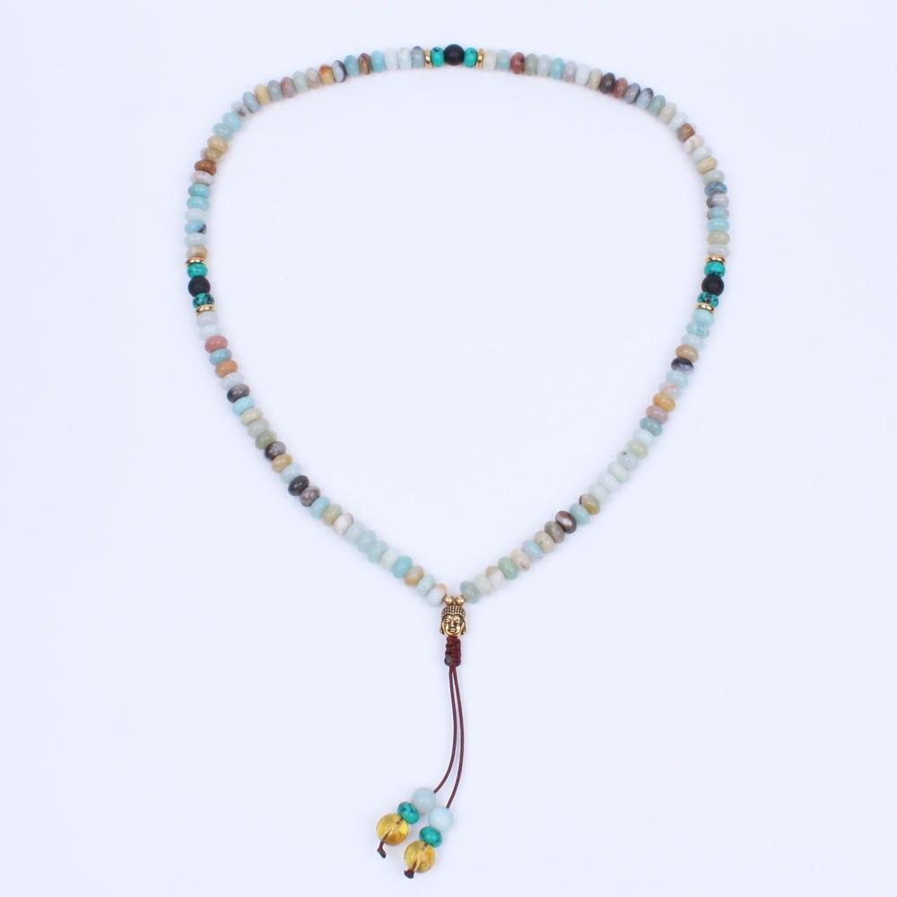 108 stone beads with Buddha head mala necklace yoga jewelry meditation Prayer beads Handmade artisan Necklace with stone