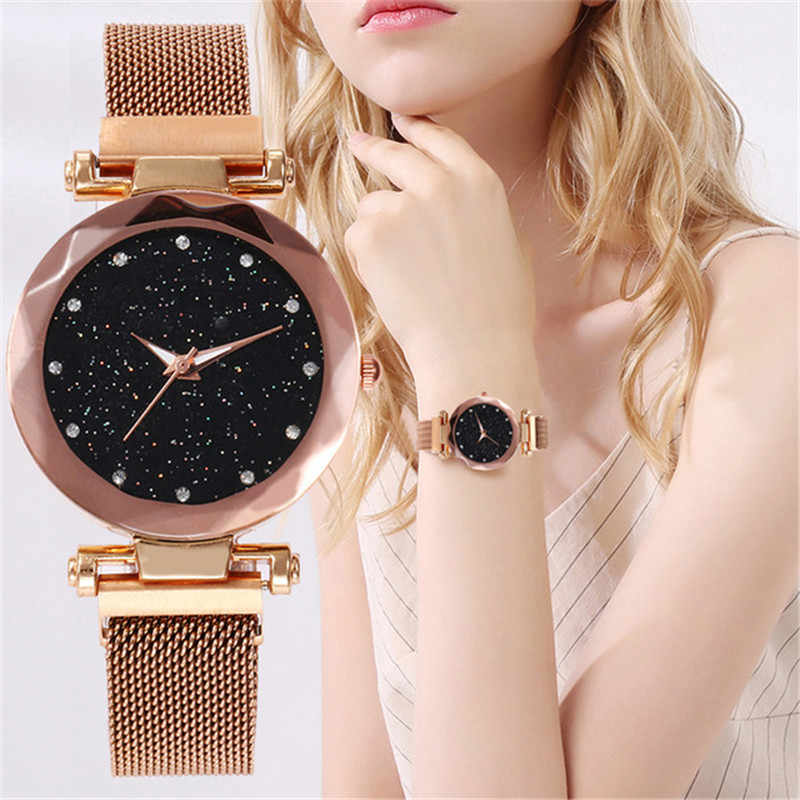 2019 Hot Sale Starry Sky Watch Women's Luxury Magnetic Magnet Buckle Quartz Wristwatch Geometric Surface Female Diamond Watches