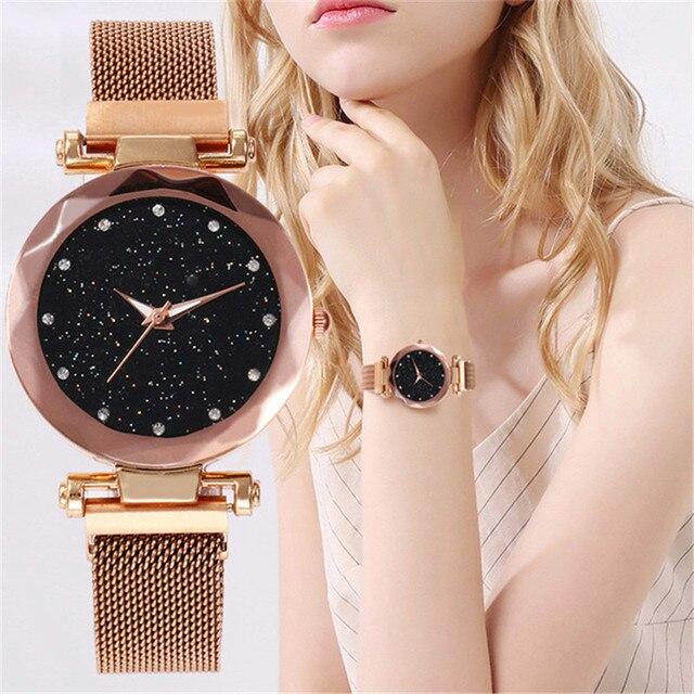 2019 מכירה לוהטת כוכבים בשמי שעון נשים של יוקרה מגנטי מגנט אבזם קוורץ שעוני יד גיאומטרי משטח נשי יהלומים שעונים